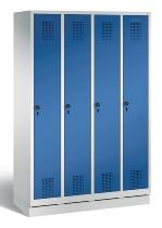 C+P Garderobenschrank 48020-40 Evolo auf Sockel 4 Abteile 300mm (HxBxT) 1800x1190x500mm Lichtgrau/Enzianblau