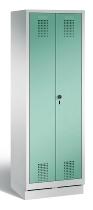 C+P Wäscheschrank 48022-20B Evolo auf Sockel 2 Abteile 300mm, Türen zueinaderschlagend (HxBxT)1800x610x500mm Lichtgrau/Lichtgrün