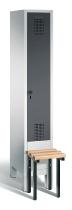 C+P Garderobenschrank 48030-10 Evolo vorgebaute Sitzbank 1 Abteil 300 mm (HxBxT) 1850x320x500mm Lichtgrau/Schwarzgrau