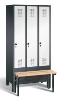 C+P Garderobenschrank 48030-30 Evolo vorgebaute Sitzbank 3 Abteile 300 mm (HxBxT) 1850x900x500/815mm Schwarzgrau/Verkehrsweiß