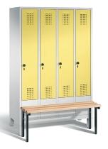 C+P Garderobenschrank 48030-40 Evolo vorgebaute Sitzbank 4 Abteile 300 mm (HxBxT) 1850x1190x500/815mm Lichtgrau/Schwefelgelb