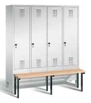 C+P Garderobenschrank 48030-42 Evolo vorgebaute Sitzbank 4 Abteile 400 mm (HxBxT) 1850x1590x500/815mm Lichtgrau