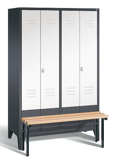 C+P Doppelspind Evolo 48032-42 vorgebaute Sitzbank 4 Abteile 400mm (HxBxT) 1850x1590x815mm Lichtgrau/Lichtblau
