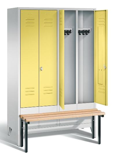 C+P Doppelspind Evolo 48032-42 vorgebaute Sitzbank 4 Abteile 400mm (HxBxT) 1850x1590x815mm Lichtgrau/Viridingrün