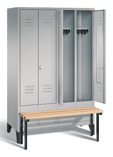 C+P Doppelspind Evolo 48032-42 vorgebaute Sitzbank 4 Abteile 400mm (HxBxT) 1850x1590x815mm Schwarzgrau/Enzianblau