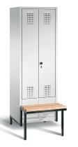 C+P Doppelspind Evolo 48042-20 tiefergelegtes Sitzbank-Gestell 2 Abteile 300mm (HxBxT) 1850x610x815mm Lichtgrau