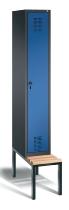 C+P Garderobenschrank 48050-10 Evolo untergebaute Sitzbank 1 Abteil 300mm (HxBxT) 2090x320x500/815mm Schwarzgrau/Enzianblau
