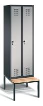 C+P Garderobenschrank 48050-20 Evolo untergebaute Sitzbank 2 Abteile 300mm (HxBxT) 2090x610x500/815mm Schwarzgrau/Weißaluminium