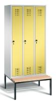 C+P Garderobenschrank 48050-30 Evolo untergebaute Sitzbank 3 Abteile 300mm (HxBxT) 2090x900x500/815mm Lichtgrau/Schwefelgelb