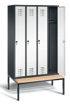 C+P Garderobenschrank 48050-40 Evolo untergebaute Sitzbank 4 Abteile 300mm (HxBxT) 2090x11900x500/815mm Schwarzgrau/Verkehrsweiß