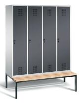 C+P Garderobenschrank 48050-42 Evolo untergebaute Sitzbank 4 Abteile 400mm (HxBxT) 2090x1590x500/815mm Lichtgrau/Schwarzgrau