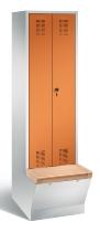 C+P Doppelspind Evolo 48056-20 untergebaute Aufbewahrungsbox 2 Abteile 300mm (HxBxT) 2090x610x500/815mm Lichtgrau/Gelborange