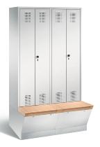 C+P Doppelspind Evolo 48056-40 untergebaute Aufbewahrungsbox 4 Abteile 300mm (HxBxT) 2090x1190x500/815mm Lichtgrau