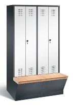 C+P Doppelspind Evolo 48056-40 untergebaute Aufbewahrungsbox 4 Abteile 300mm (HxBxT) 2090x1190x500/815mm Schwarzgrau/Verkehrsweiß