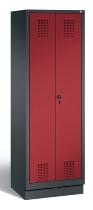 C+P Wäsche-Garderobenschrank 48160-20 Evolo auf Sockel 2 Abteile 300mm (HxBxT) 1800x610x500mm Schwarzgrau/Rubinrot