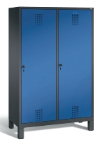 C+P Doppelspind Evolo 48210-40 auf Füßen Tür über 2 Abteile mit 4 Abteilen 300mm (HxBxT) 1850x1190x500mm Schwarzgrau/Enzianblau