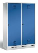 C+P Doppelspind Evolo 48220-40 auf Sockel Tür über 2 Abteile mit 4 Abteilen 300mm (HxBxT) 1800x1190x500mm Lichtgrau/Enzianblau