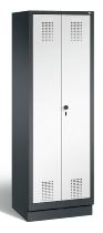 C+P Wäscheschrank 48222-20B Evolo auf Sockel Einlegeböden durchgehend, Türen zueinaderschlagend (HxBxT)1800x610x500mm Schwarzgrau/Verkehrsweiß