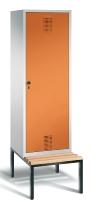 C+P Doppelspind Evolo 48250-20 Tür über 2 Abteile untergebaute Sitzbank 2 Abteile 300mm (HxBxT) 2090x610x500/815mm Lichtgrau/Gelborange