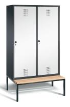 C+P Doppelspind Evolo 48250-40 Tür über 2 Abteile untergebaute Sitzbank 4 Abteile 300mm (HxBxT) 2090x1190x500/815mm Schwarzgrau/Verkehrsweiß