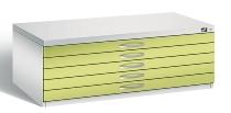 CP Flachablageschrank 7100-100 mit 3 Schubladen bis A1 (HxBxT) 420x1100x765mm Weißaluminium