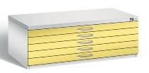 CP Flachablageschrank 7100-000 mit 5 Schubladen bis A1 (HxBxT) 420x1100x765mm Lichtgrau/Schwefelgelb