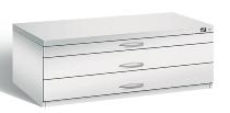 CP Flachablageschrank 7100-100 mit 3 Schubladen bis A1 (HxBxT) 420x1100x765mm Lichtgrau