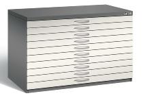 CP Flachablageschrank 7101-000 Größe A1 mit 10 Schubladen (HxBxT) 760x1100x765mm Vulkangrau/Perlweiß