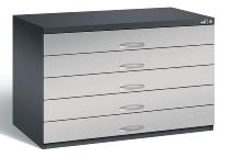 CP Flachablageschrank 7101-100 Größe A1 mit 5 Schubladen (HxBxT) 760x1100x765mm Schwarzgrau/Weißaluminium