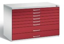 CP Flachablageschrank 7101-200 Größe A1 mit 8 Schubladen (HxBxT) 760x1100x765mm Lichtgrau/Rubinrot