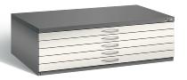 CP Flachablageschrank 7200-000 mit 5 Schubladen bis A0 (HxBxT) 420x1350x960mm Vulkangrau/Perlweiß