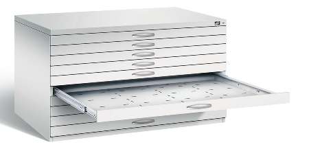 CP Flachablageschrank 7201-200 mit 8 Schubladen bis A0 (HxBxT) 760x1350x960mm Weißaluminium