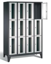 C+P Schließfachschrank 8010A403 Classic mit Sichtfenster 4x 3 Fächer 300mm mit Füßen (HxBxT) 1850x1190x500mm Schwarzgrau/Lichtgrau