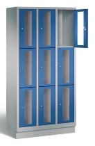 CP Schließfachschrank 8020A303 Classic Sockel mit Sichtfenster 3x 3 Fächer (HxBxT) 1800x900x500mm Weißaluminium/Enzianblau