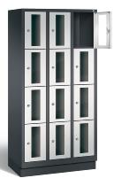 CP Schließfachschrank 8020A304 Classic Sockel mit Sichtfenster 3x 4 Fächer (HxBxT) 1800x900x500mm Schwarzgrau/Lichtgrau