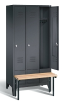 C+P Garderobenschrank 8030-30 Classic vorgebaute Sitzbank 3 Abteile 300mm (HxBxT) 1850x900x500mm Schwarzgrau