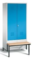 C+P Doppelspind Classic 8042-22 tiefergelegtes Sitzbank-Gestell 2 Abteile 400mm (HxBxT) 1850x810x500mm Lichtgrau/Lichtblau