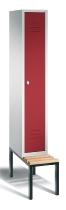 C+P Garderobenschrank 8050-10 Classic untergebaute Sitzbank 1 Abteile 300mm (HxBxT) 2090x320x500mm Lichtgrau/Rubinrot