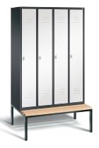 C+P Garderobenschrank 8050-40 Classic untergebaute Sitzbank 4 Abteile 300mm (HxBxT) 2090x1190x500mm Schwarzgrau/Verkehrsweiß