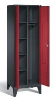 C+P Wäsche-Garderobenschrank 8060-20 S2000 Classic 2 Abteile auf Füßen (HxBxT) 1850x610x500mm Schwarzgrau/Rubinrot