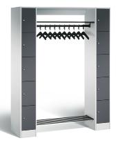 C+P Offene Garderobe 80710-00 mit 10 Schließfächern (HxBxT) 1950x1430x480mm Lichtgrau/Schwarzgrau