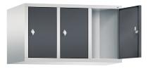 C+P Aufsatzschrank 8090-30 für Spinde Classic 3 Abteile 300mm (HxBxT) 500x900x500mm Lichtgrau/Schwarzgrau