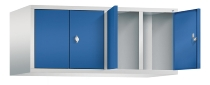 C+P Aufsatzschrank 8092-40 für Spinde Classic 4 Abteile 300mm (HxBxT) 500x1190x500mm Lichtgrau/Enzianblau