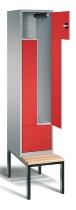 CP Z-Spind mit Sitzbank 8153-122 für 2 Personen (HxBxT) 2090x420x510/825mm Weißaluminium/Feuerrot