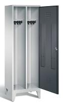C+P Doppelspind Classic 8210-20 auf Füßen 1 Tür 2 Abteile 300mm (HxBxT) 1850x610x500mm Lichtgrau/Schwarzgrau