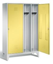 C+P Doppelspind Classic 8210-40 auf Füßen 2 Türen 4 Abteile 300mm (HxBxT) 1850x1190x500mm Lichtgrau/Schwefelgelb