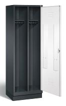 C+P Doppelspind Classic 8220-20 auf Sockel 1 Tür 2 Abteile 300mm (HxBxT) 1800x610x500mm Schwarzgrau/Verkehrsweiß