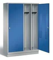 C+P Doppelspind Classic 8220-40 auf Sockel 2 Türen 4 Abteile 300mm (HxBxT) 1800x1190x500mm Weißaluminium/Enzianblau