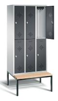 C+P Spind doppelstöckig 8350-30 Classic mit Sitzbank 3x 2 Fächer 300mm (HxBxT) 2090x900x500mm Lichtgrau/Schwarzgrau