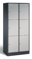 C+P Schließfachschrank XL 8370-202 Intro 2x 3 Fächer 400mm (HxBxT) 1950x820x490mm Schwarzgrau/Weißaluminium